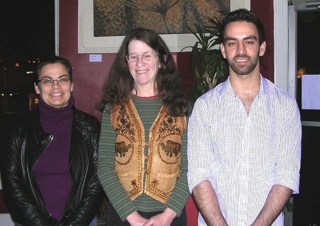 Wordstorm prize-winners for the open mic competition February 26, 2013 in Nanaimo: Altogether Lisa (1st Prize), Kim Goldberg (3rd Prize), Babak Zargarian (2nd Prize)