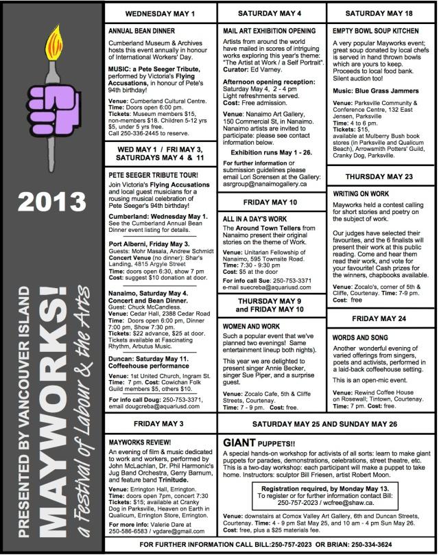 Vancouver Island Mayworks Calendar of Events
