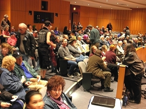 At CHLY's October 2013 AGM, 200 members packed the Shaw Auditorium to capacity  to cast their ballots ousting the old regime.(Photo © Kim Goldberg, 2013)