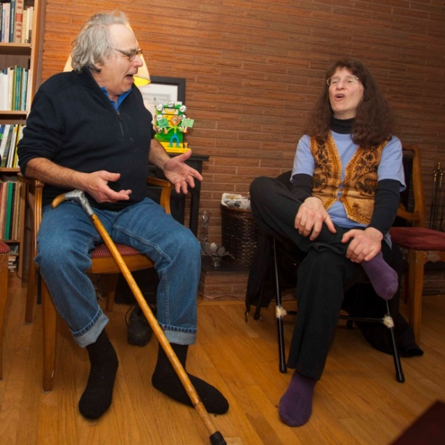 Joe Rosenblatt & Kim Goldberg on Joe's 80th Birthday. (Photo by Peter Milroy)