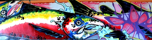 Salmon mural along the wall of the underpass, reminding us of the active salmon run in the Millstone River beside us, and of the fragility of our oceans. (Photo by Kim Goldberg)