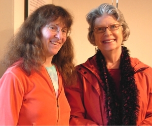 Kim Goldberg & Mary Ann Moore (right) at Nanaimo's Mayworks Poetry Festival 2011.