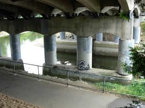 Pearson Bridge underpass, flanking the Millstone River, Nanaimo, BC  (Photo © Kim Goldberg)