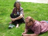 A bunch of us picnicked in the park aacross the street fromo Spring Street Center one afternoon. Joanne Arnott & Warren Dean Fulton. (Photo © Kim Goldberg)