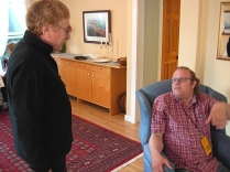 Bc poets David Fraser & Warren Dean Fulton chat inside the Spring Street Center. (Photo © Kim Goldberg)
