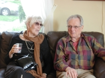 Joanne Kyger & George Stanley share a moment. Lots of history there. (Photo © Kim Goldberg)