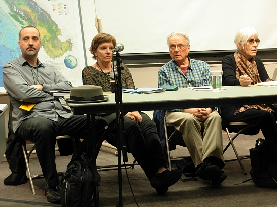 The Innovative Poetics panel: Stephen Collis, Jeanne Heuving, George Stanley, Joanne Kyger… They were having a lot more fun than this photo would suggest - and so was the audience. (Photo © Kim Goldberg)