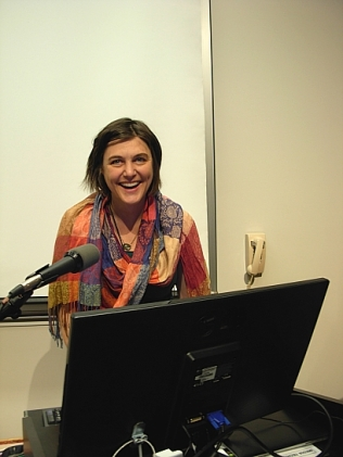 Portland poet Kaia Sand on the GeoAcativism panel (Photo © Kim Goldberg)