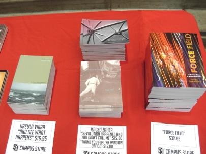 ForceField anthology on the Seattle U Bookstore table (Photo © Kim Goldberg)