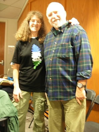 """Kim Goldberg (Yours Truly) rocking the Cascadia T-shirt alongside David McCloskey, the """"Father of Cascadia"""" and the maker of the phenomenal map of the Cascadia bioregion. (Photo by Heidi Greco)"""