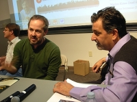 Tod Marshall (left) and festival organizer paul Nelson on the MOOC panle (Massive Open Online Course) (Photo © Kim Goldberg)