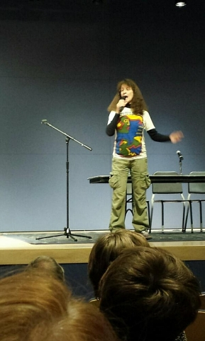 "Yours truly (Kim Goldberg) performing ""Seed"" at the Saturday night feminist readings (Photo by Danika Dinsmore)"